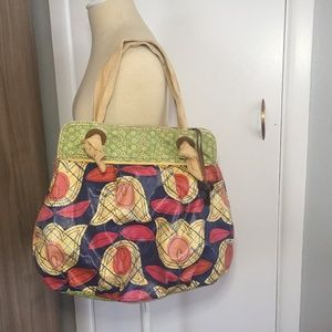 Fossil Floral Mixed Pattern Covered Canvas Bag